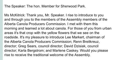 Alberta Legislature greets canola
