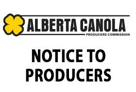 Alberta Canola Notice to Producers